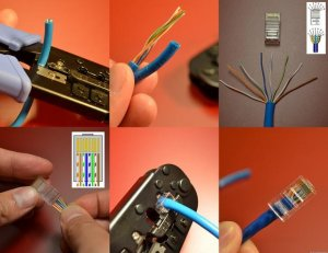 Here are the steps to make your own network cable. Remember, the wiring scheme is the hardest part (click to enlarge).