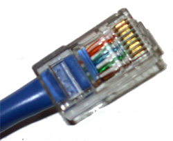 Wires inserted into RJ-45 plug